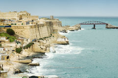 Valletta coastline and Fort St Elmo surrounding wall. Malta Royalty Free Stock Image