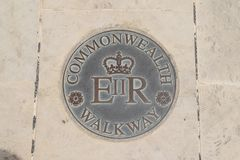 Commonwealth Walkway in Valletta city, Malta. The Valletta Commonwealth Walkway was inaugurated by HM Queen Elizabeth II and Minister for Tourism Edward Zammit royalty free stock photos