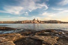 Valletta, de Hoofdstad van Malta in de zonsondergang Royalty-vrije Stock Afbeelding