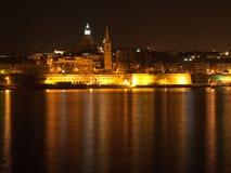 Valletta in der Nacht, Malta Lizenzfreies Stockbild