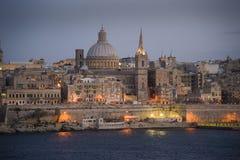 Valletta bij schemer. Royalty-vrije Stock Afbeelding