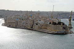 Valletta fortifications. The historic medieval walls of la valletta port on malta island Stock Photography