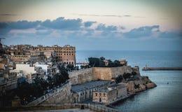 Valletta fortress at dusk - Malta.  Stock Photography