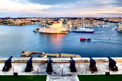 Valletta fortress at dusk - Malta. Panorama. Fort Saint Angelo.  Stock Images