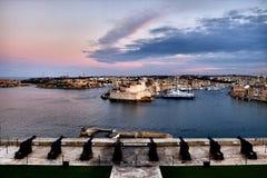 Valletta fortress at dusk - Malta. Panorama. Valletta fortress at dusk - Malta. Panoramic image Stock Photography