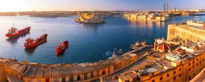 Valletta and the Grand Harbor at dawn. Malta. Stock Image