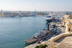 Valletta Grand Harbour with boats Stock Photos