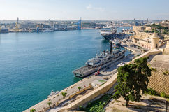 Valletta Grand Harbour with boats Royalty Free Stock Images