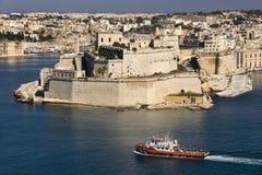 Valletta - Grand Harbour - Malta. Fort St Angelo in the Grand Harbour of Valletta on the Mediterranean island of Malta Royalty Free Stock Photo