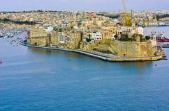 Valletta Grote Haven, Malta Stock Afbeeldingen