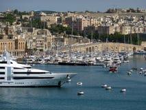 Valletta harbour. View of Marsamxett Harbour and Valletta (Malta, Maltese islands Royalty Free Stock Photos