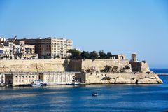 Valletta harbour, Malta. View across the Grand Harbour at Valletta city seen from Vittoriosa, Valletta, Malta, Europe Royalty Free Stock Photo