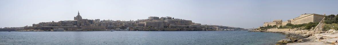 Valletta harbour panoramic view Malta. Malta - Valletta harbour fortress panoramic view from Manoel Island Royalty Free Stock Photos