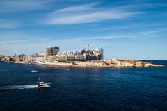Valletta, Hoofdstad van Malta, Europa, nieuwe stad in aanbouw, mening over Sliema Royalty-vrije Stock Afbeeldingen
