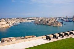 Valletta, Malta. View Of Grand Harbour In Valletta, Malta from Upper Barracca Gardens Royalty Free Stock Photos
