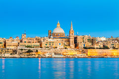 Valletta, Malta. Valletta Skyline in the Evening, Malta Royalty Free Stock Photo