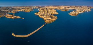 Valletta, Malta - Aerial panoramic skyline view of Valletta, Sliema, Breakwater. Grand Harbor, Birgu, Senglea and Manoel Island royalty free stock photo