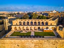Valletta, Malta - Aerial view of the beautiful saluting battery of Valletta. At surise Stock Images