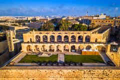 Valletta, Malta - Aerial view of the beautiful saluting battery of Valletta. At surise Royalty Free Stock Photo