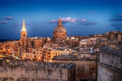 Valletta, Malta: aerial view from city walls. The cathedral. Valletta, Malta: aerial view from city walls at sunset. The cathedral Royalty Free Stock Photography