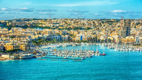 Valletta, Malta: aerial view from city walls. Marsamxett harbor and Sliema royalty free stock photo