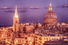 Valletta, Malta: aerial view from city walls at night. The cathedral Royalty Free Stock Images