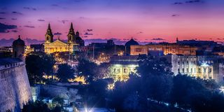 Valletta, Malta: aerial view from city walls. At sunset Stock Image