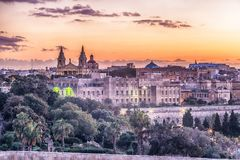 Valletta, Malta: aerial view from city walls. At sunset Stock Photos