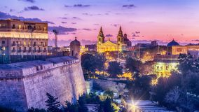 Valletta, Malta: aerial view from city walls. At sunset Royalty Free Stock Photos
