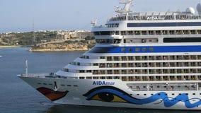 Valletta, Malta, AidaMar on October 13, 2014. Valletta, Malta, October 13:View of AidaMar on October 13, 2014 in Valletta, Malta. The cruise ship AIDA MAR in the stock video