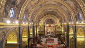VALLETTA - MALTA, April, 2018: Interior of St John`s Co-Cathedral - Valletta, Malta. VALLETTA - MALTA, April, 2018: Interior of St John`s Co-Cathedral stock video footage