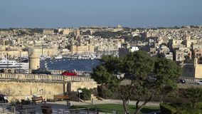VALLETTA - MALTA, April, 2018: View of the Mediterranean Sea, Saint Angelo and the island of Malta from the coast of Valletta. stock video footage