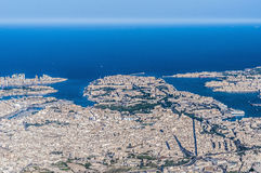 Valletta in Malta as seen from the air. Royalty Free Stock Photography