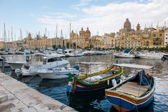 Boats and yachts anchoring in Valletta, Malta Stock Image