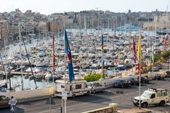Boats and yachts anchoring in Valletta, Malta Stock Photography