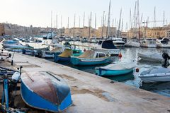 Boats and yachts anchoring in Valletta, Malta Royalty Free Stock Images