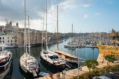 Boats and yachts anchoring in Valletta, Malta Royalty Free Stock Photo