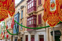 Streets of Valletta during a religious feast. VALLETTA, MALTA - AUGUST 23, 2017: The Feast of St. Dominic is celebrated in the town of Vittoriosa Birgu in Malta Stock Photo