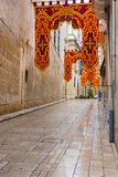 Streets of Valletta during a religious feast. VALLETTA, MALTA - AUGUST 23, 2017: The Feast of St. Dominic is celebrated in the town of Vittoriosa Birgu in Malta Stock Photos