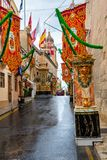 Streets of Valletta during a religious feast. VALLETTA, MALTA - AUGUST 23, 2017: The Feast of St. Dominic is celebrated in the town of Vittoriosa Birgu in Malta Royalty Free Stock Photo