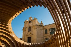 Our Lady of Victories Church in Valletta. VALLETTA, MALTA - AUGUST 21, 2017: The Our Lady of Victories Church in Valletta was built to commemorate the victory of Royalty Free Stock Images