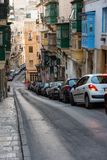 Parking in Valletta narrow streets Stock Images