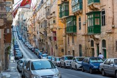 Parking in Valletta narrow streets Royalty Free Stock Image