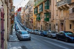 Parking in Valletta narrow streets Royalty Free Stock Images