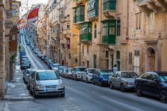 Parking in Valletta narrow streets Stock Photo