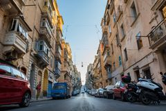 Parking in Valletta narrow streets Royalty Free Stock Photography