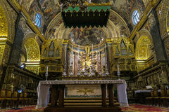 Valletta, Malta - August 04 2016: Saint Johns Co-Cathedral interior detail. The church was built between 1572 and 1577 royalty free stock photo