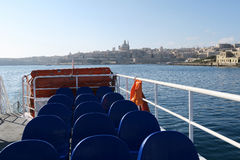 VALLETTA, MALTA. AUGUST 03, 2016: Sliema to Valletta ferry leaving Valletta. If swell rises in the Harbour ferry service has to be suspended stock images