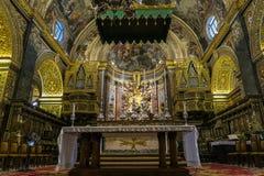 Valletta, Malta - 4. August 2016: St- Johnsc$mit-kathedraleninnenraumdetail Lizenzfreies Stockfoto