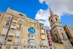 Valletta, Malta, buildings with traditional Maltese balconies.  Stock Images